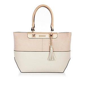 Cream panel tote handbag