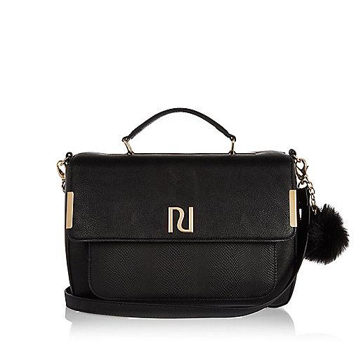 Black pom pom satchel handbag