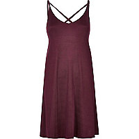 Dark red strappy swing dress