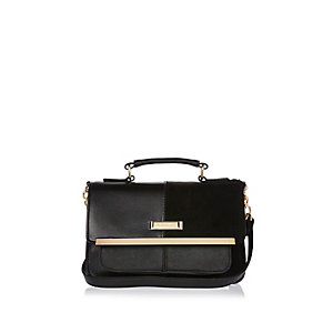 Black branded satchel