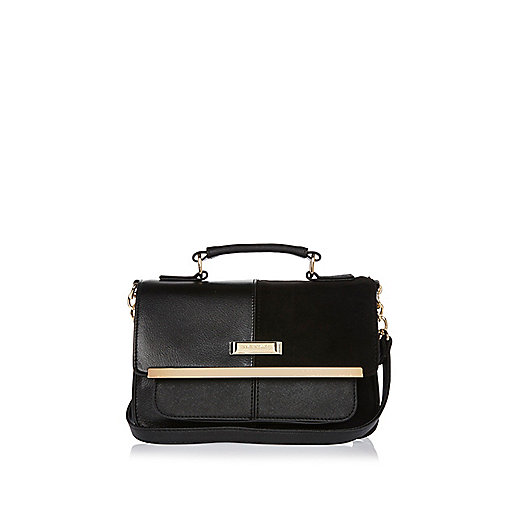 Black branded satchel bag