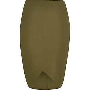 RI Plus khaki textured pencil skirt