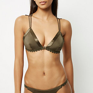 Khaki lace back triangle bikini top