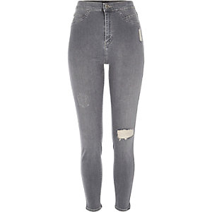 Jean skinny gris Molly à taille haute