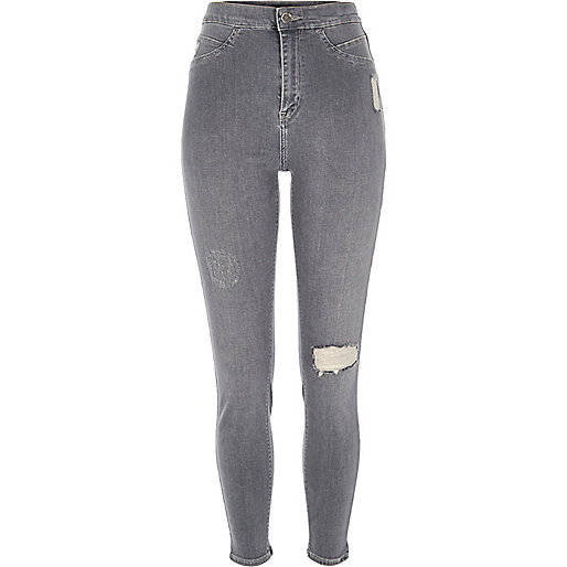 Graue High Rise Party-Jeggings im Used-Look