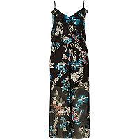 Black floral print frill jumpsuit