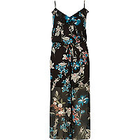 Black floral print frilly jumpsuit