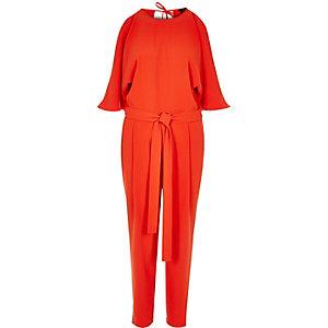 Red cold shoulder jumpsuit