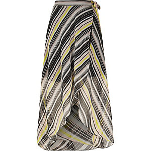 Yellow print maxi skirt