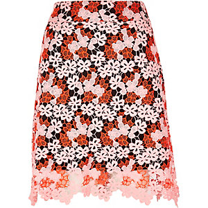 Orange lace A-line skirt