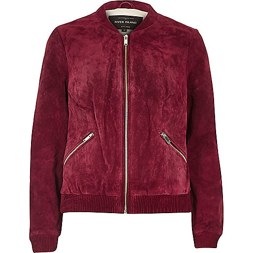 Dark red suede bomber jacket