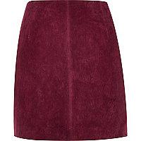 Dark red suede mini skirt