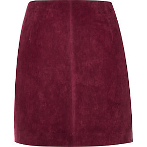 Dark red suede mini skirt