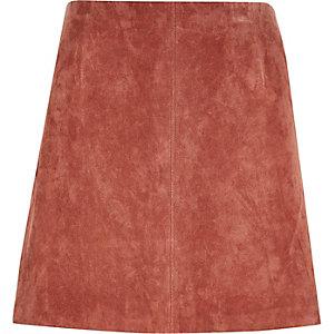 Dark pink suede mini skirt