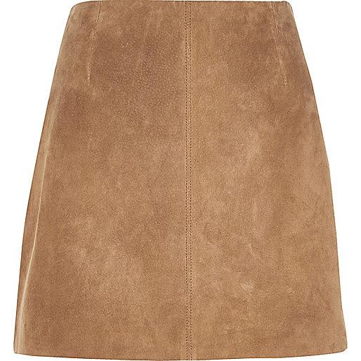 Mini-jupe en daim marron