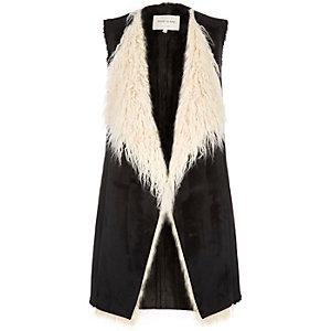 Black Mongolian faux fur gilet