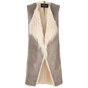Grey Mongolian faux fur gilet