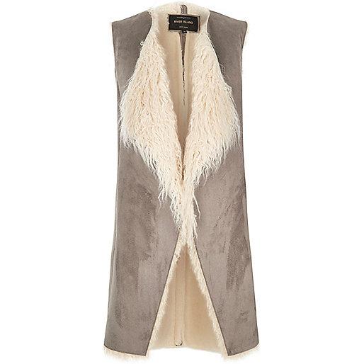 Grey Mongolian faux fur vest