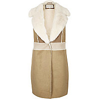 Brown faux suede shearling vest