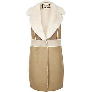 Brown faux suede shearling gilet
