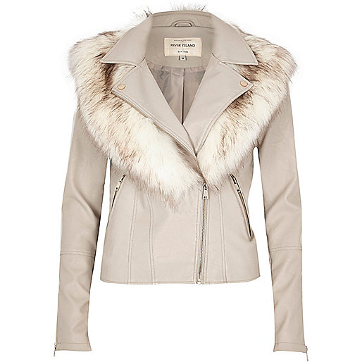 Stone faux fur collar biker jacket