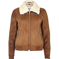 Tan faux fur lined bomber jacket
