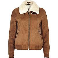 Tan faux fur lined bomber jacket