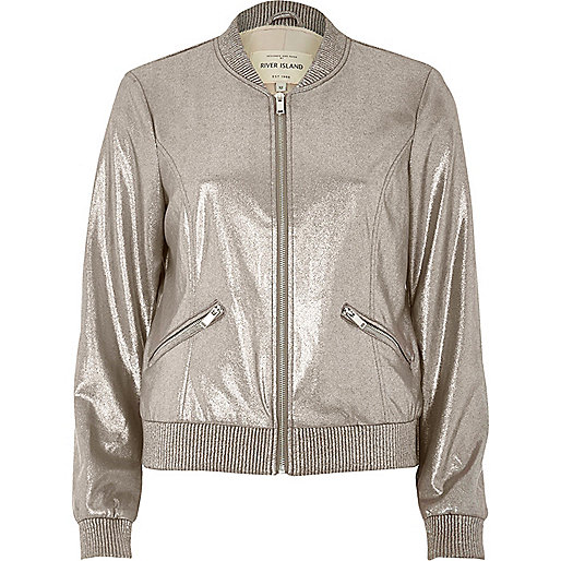 Silver faux suede bomber jacket