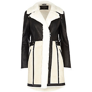 Cream faux suede panel shearling coat
