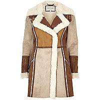 Tan faux suede panel shearling coat