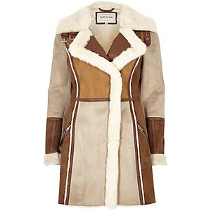 Tan faux suede panel shearling coat