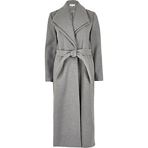 Grey wool touch double collar duster coat