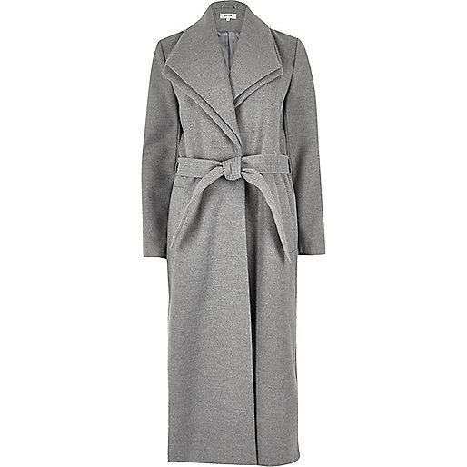 Manteau long gris avec col double