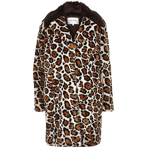 Cream leopard print faux fur coat