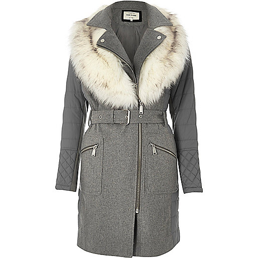 Grey longline padded faux fur coat