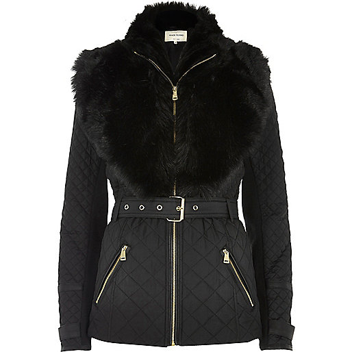 Black padded jacket with faux fur trim
