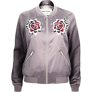 Light purple satin floral bomber jacket