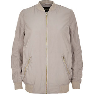 Light grey longline bomber jacket
