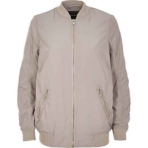 Light grey longline bomber jacket