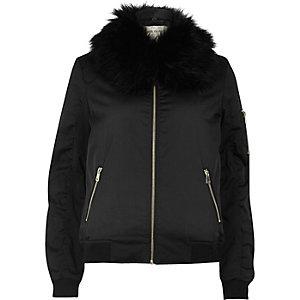 Black faux fur collar bomber jacket