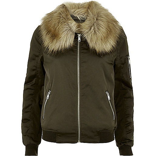 Khaki faux fur collar bomber jacket