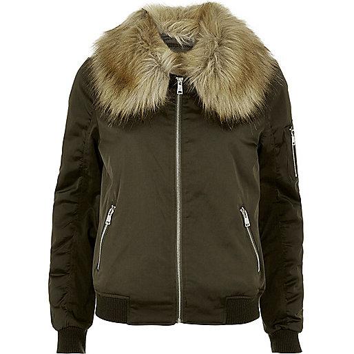 Khaki faux fur collar bomber jacket