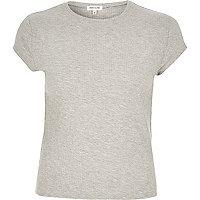 T-shirt en maille côtelée gris style années 90s
