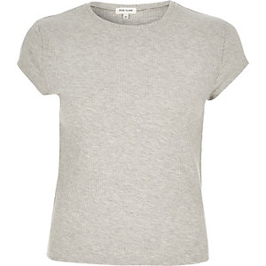 Grey ribbed t-shirt