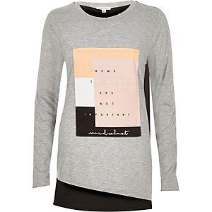 Grey print woven top