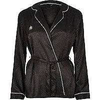 Black print wrap pyjama shirt