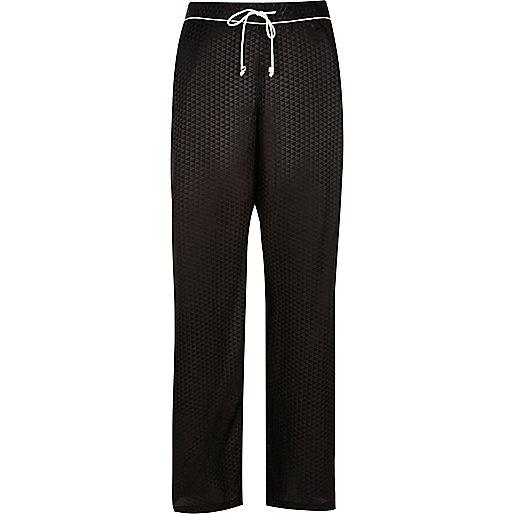 Bas de pyjama à imprimé géométrique noir