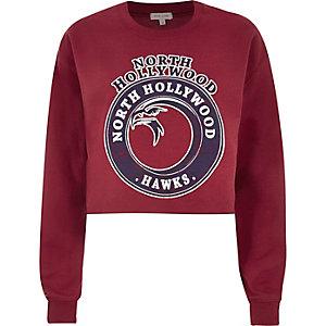 Red Hollywood print cropped sweatshirt