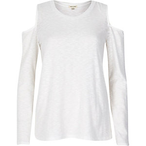White space dye cold shoulder top