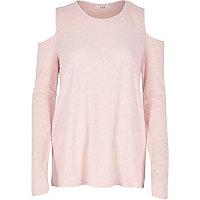 Pink space dye cold shoulder top